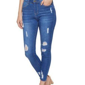 WAX JEANS distressed high rise skinny ankle jeans